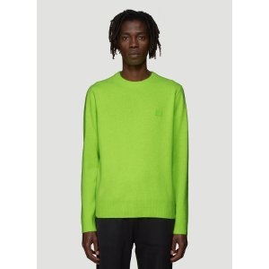 Acne StudiosNalon Face Embroidered Knit Sweater in Green