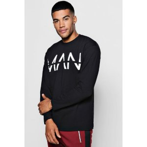 Long Sleeve Large MAN Dash T-Shirt - boohooMAN