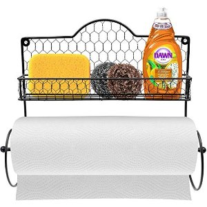 Paper Towel Holder, Spice Rack and Multi-Purpose Shelf—Wall Mounted Storage for Kitchen Accessories, Towels, Toiletries, Supplies, etc.—Ideal for Kitchen/Bathroom—Made of Steel (Black)
