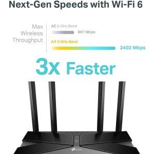 $129.99(原价$179.99)史低价:TP-Link WiFi 6 AX3000智能 Wi-Fi路由器 全屋Wi-Fi不是梦