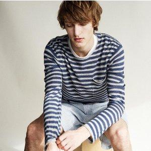 Linen Stripe Rollneck