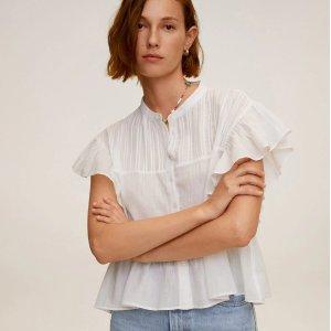 低至2.5折 印花衬衫$12Mango Outlet 设计感上衣再降价 封面荷叶边上衣$17