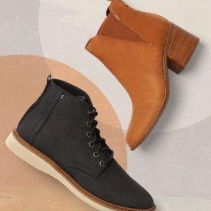 最高立减$20Toms 精选舒适女靴热卖