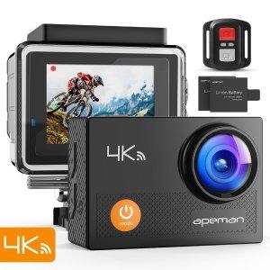 $69.99 (原价$84.99)闪购:APEMAN 1080P 全高清超大广角无线WiFi运动相机