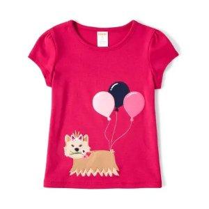 GymboreeGirls Short Sleeve Embroidered Applique Dog Balloon Top - Preppy Puppy