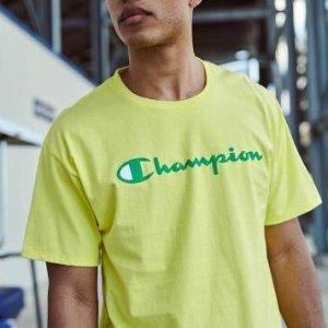 $17.91(原价$39.99)Champion 男款清新配色短袖 M、L码好价 妹纸来oversize吧