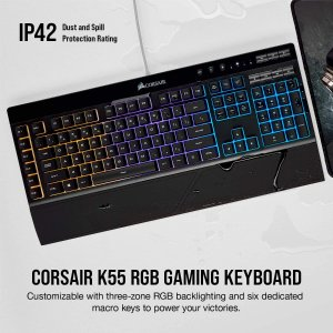 $59.99+包邮Corsair K55 RGB 黑色多彩背光键盘