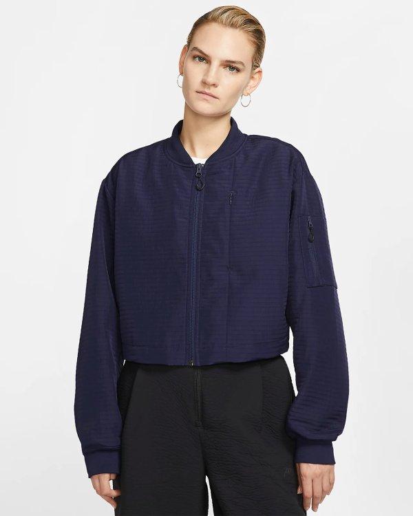 深蓝短款开衫