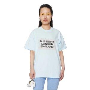 Burberry蓝色logoT恤