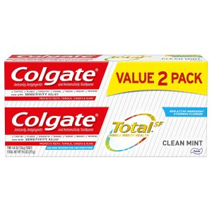 买3件立减$5 平均$1.27/支Colgate 全效护理美白牙膏 4.8 oz 2支装