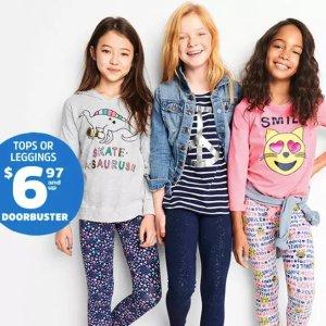 T恤$4.97起,打底裤$6.97起OshKosh BGosh Doorbuster优惠,包括T恤、打底裤、上衣、牛仔裤等