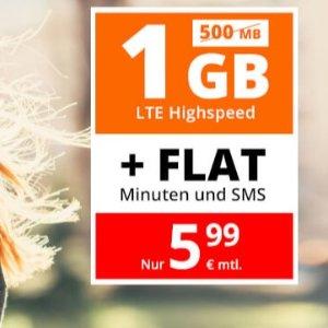 月租仅5.99欧包月电话+短信+1GB流量