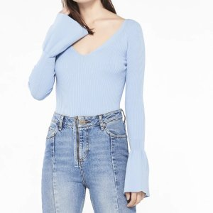 SandroKnit sweater with frilled sleeves