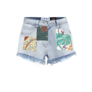 Loewe印花高腰牛仔短裤