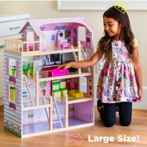 $64 原价$99.99Best Choice Products 4层木质娃娃屋,附13个配件