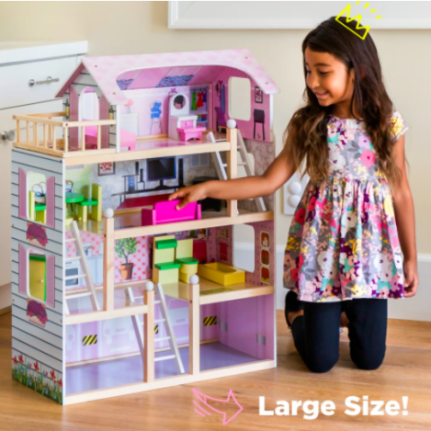 Best Choice Products 4-Level Kids Wooden Dollhouse w/ 13 Furniture Accessories