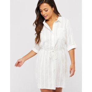 白色棉衬衫裙