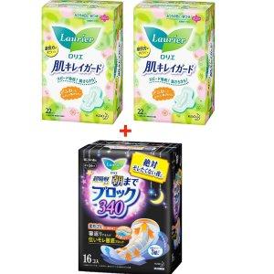 $ 39.99日本Laurier 花王乐而雅卫生巾套装,日用44片+夜用16片