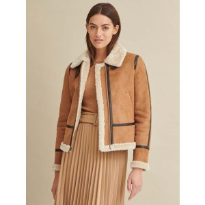 Wilsons LeatherPiped Faux Shearling Coat