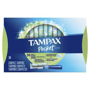 $6.98(原价$26.97)TAMPAX Pocket Pearl 珍珠卫生棉条36条  清爽清新灵活自由