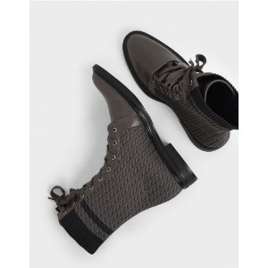 Charles & KeithFly Knit Lace-Up Calf Boots