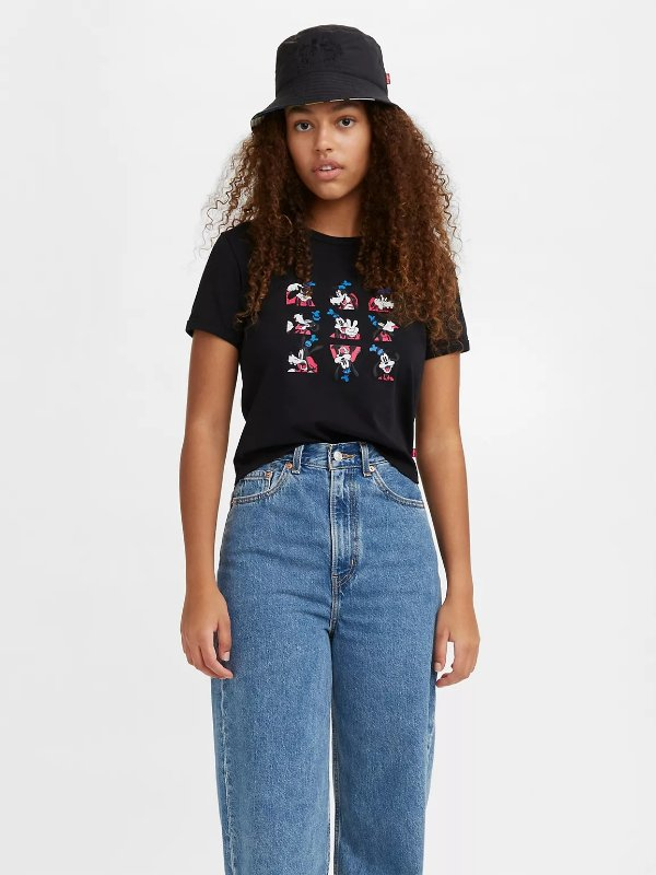 X Disney 黑色九宫格T恤