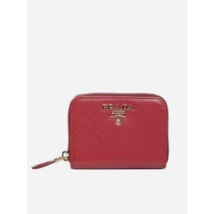 Prada红色logo钱包
