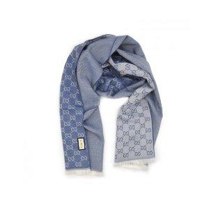 Gucci浅蓝色羊毛围巾