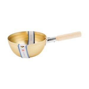 日本北陆HOKUA 小伝具 锤目纹 邵和复古金色 雪平锅18cm 1.6L 防烫木柄 煎炸煲煮 日本制造 - 亚米
