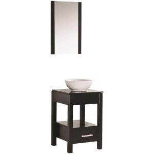 $99Maranella Atala 19 in. Vanity in Espresso with Tempered Glass Vanity Top in Espresso and Mirror