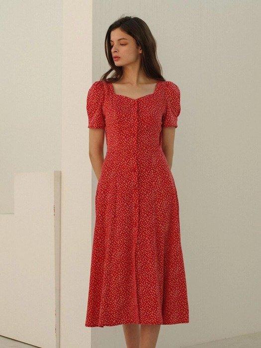 红色小碎花连衣裙