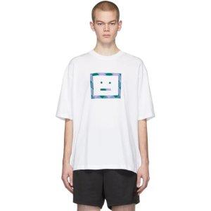 Acne Studios- White Check Face T-Shirt