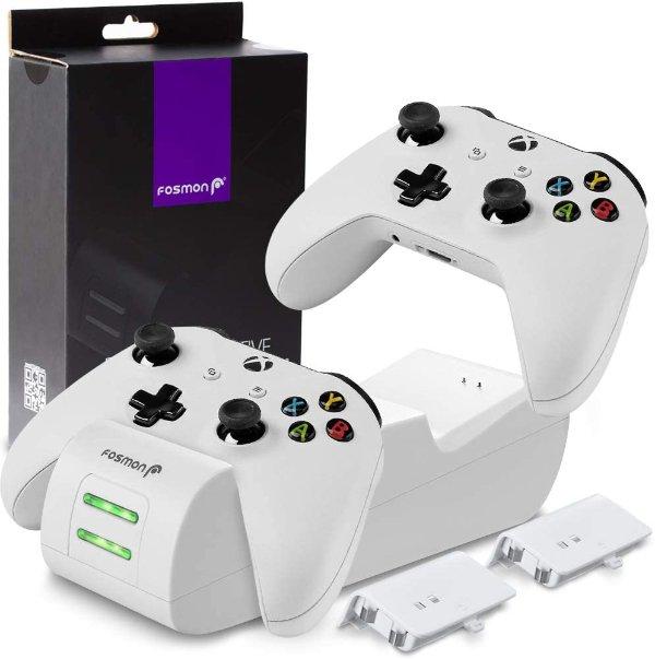 Fosmon Xbox控制器充电底座 + 2x1000mAh电池