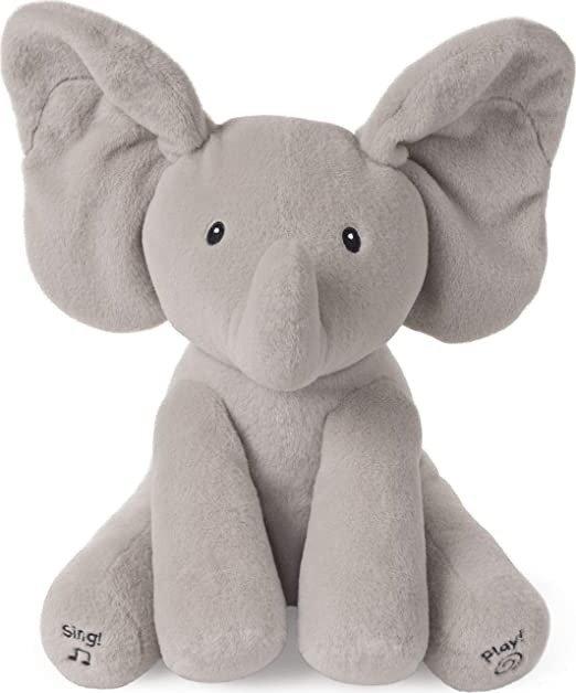 """Animated Flappy The Elephant Stuffed Animal Plush, Grey, 12"""""""