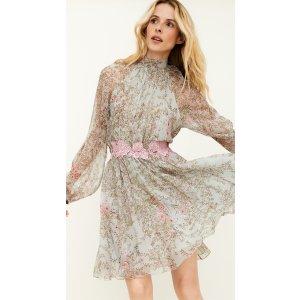 Giambattista ValliLong Sleeve High Neck Mini Dress