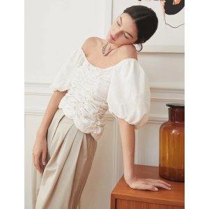 Pixie MarketNoelle Linen Off The Shoulder Top