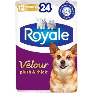 $6.97(原价$9.49)Royale Velour 加厚卫生纸 12大卷 相当于24卷 居家必备