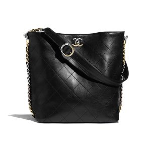 Calfskin, Gold-Tone, Silver-Tone & Ruthenium-Finish Metal Black Hobo Handbag | CHANEL