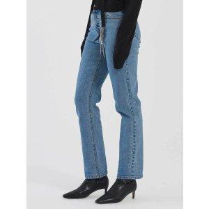 DIAGONALHigh Waisted Straight Leg Denim Jeans_Blue