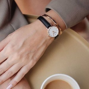 Daniel Wellington表带宽度1.8cm黑金色手表