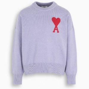 Ami71%棉!仅剩XL码Lilac 爱心毛衣