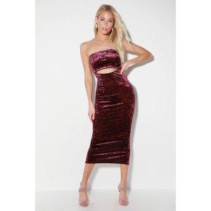 Friday Night Vibes Plum Purple Velvet Cutout Midi Dress
