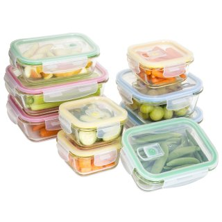 18-Piece BPA Free Glass Food Containers w/ Locking Lids - Multicolor