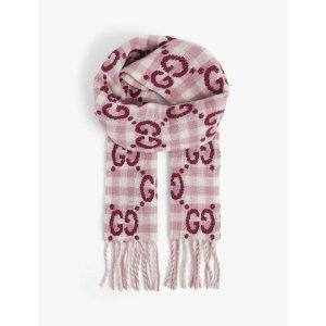 Gucci官网$415Logo-embroidered 羊毛围巾