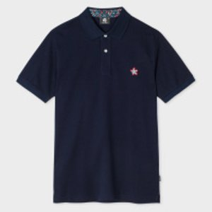 Paul Smith Men's Navy Embroidered Flower Cotton Polo Shirt