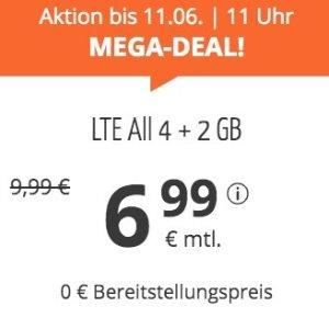 月租仅€6.99 代号入网送€6.8211点截止!立减€164!每月6GB包月上网+德国免费电话/短信