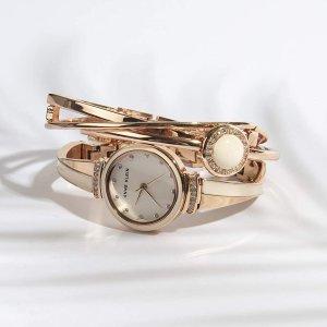 Anne Klein水晶玫瑰金套装