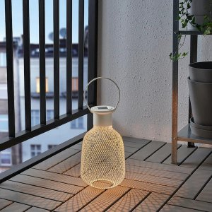 IkeaSOLVINDEN LED solar-powered lantern, outdoor, mesh white - IKEA