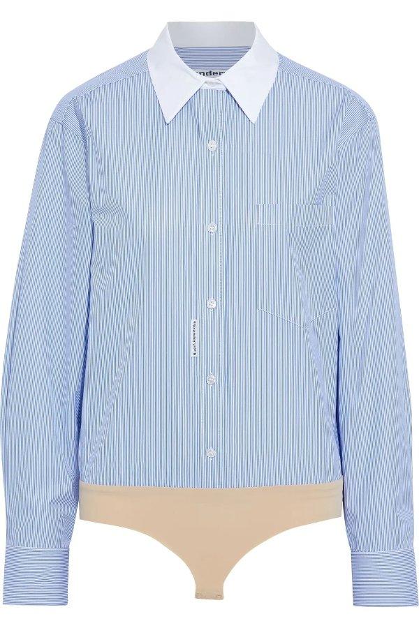 Striped cotton Oxford 连体衣