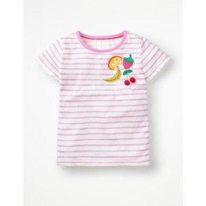 Boden女孩条纹闪片T恤